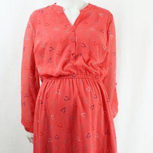 Modcloth Wishbone Print Coral Dress Size 1X